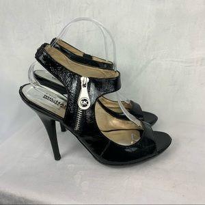 MICHAEL KORS black patent leather peep toe heels